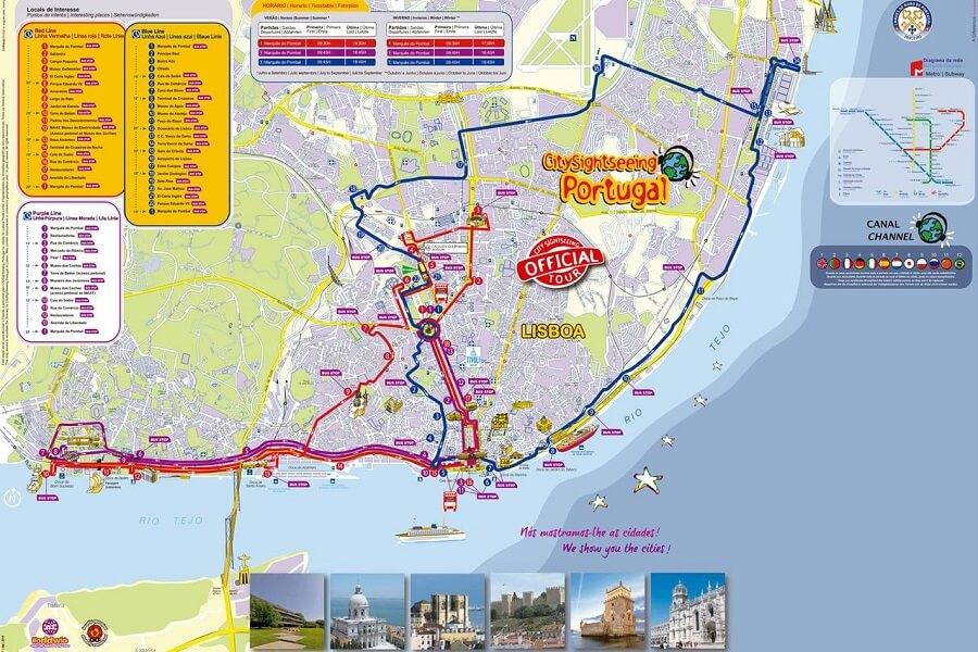 Mapa do Passeio de ônibus turístico em Lisboa