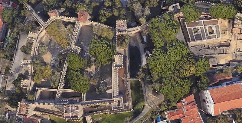Vista aérea do Castelo de São Jorge em Lisboa