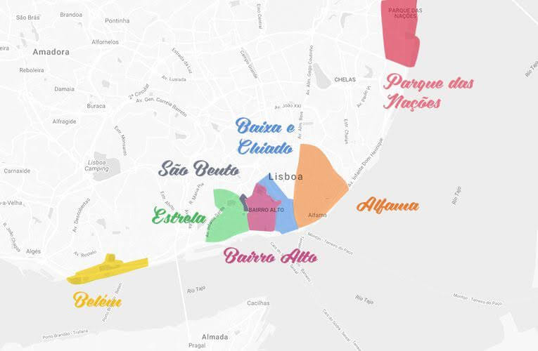 Mapa de regiões de Lisboa