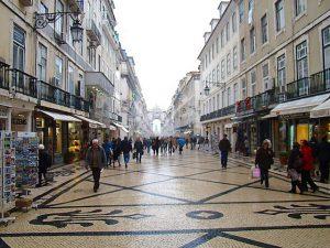 Rua Augusta no inverno em Lisboa