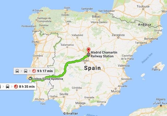 Viagem de trem de Lisboa a Madri