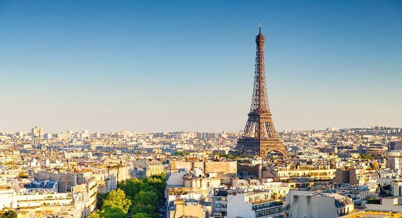 Vista da Torre Eiffel em Paris, França
