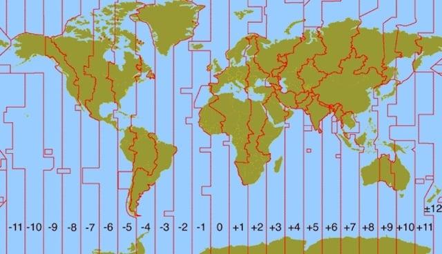 Mapa com os fusos horários mundiais