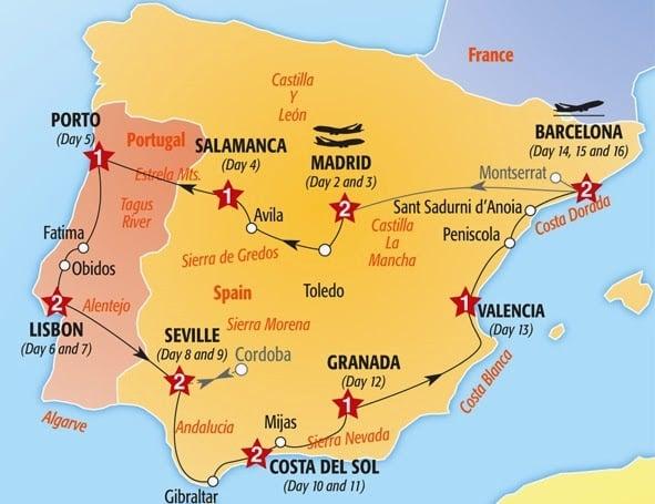 Mapa roteiro Portugal e Espanha de carro