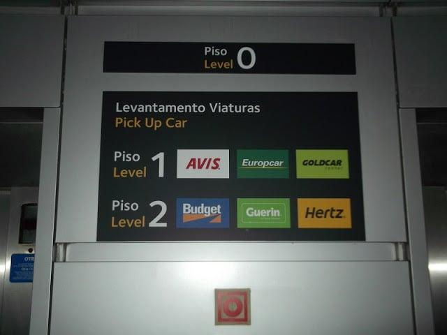 Locadoras de carro no aeroporto de Lisboa
