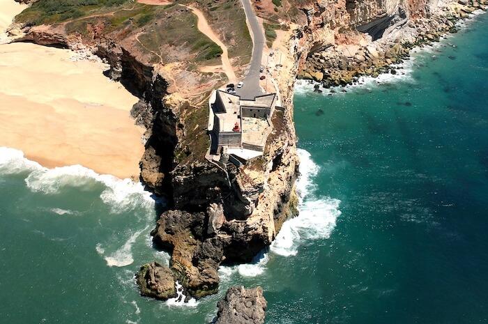 Vista aérea do Farol do Nazaré