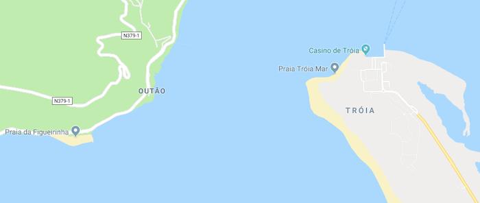 Mapa da Praia de Tróia em Setúbal