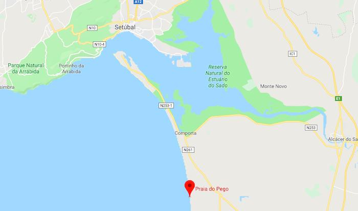 Mapa da Praia do Pego em Setúbal