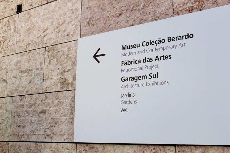 Placa indicando o Museu Coleção Berardo em Lisboa
