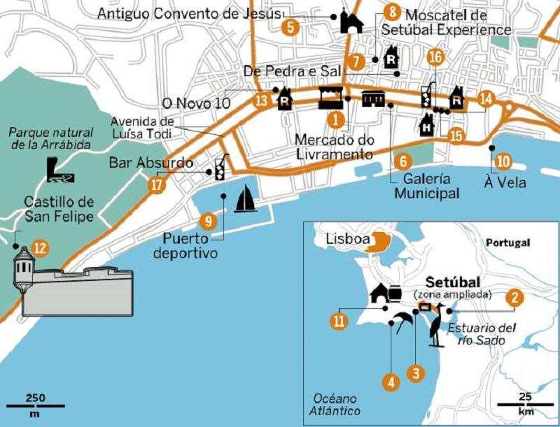 Mapa turístico de Setúbal