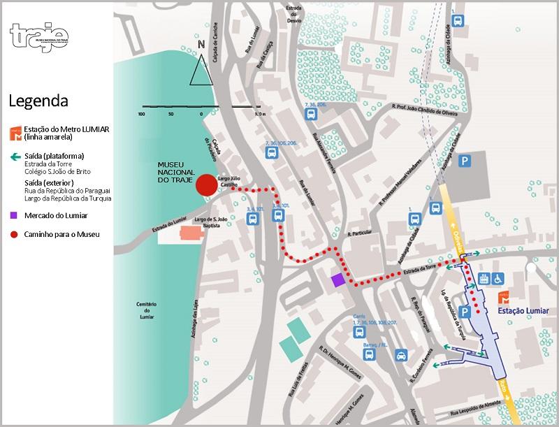 Mapa mostrando como ir da Estação Lumiar até o Museu do Traje