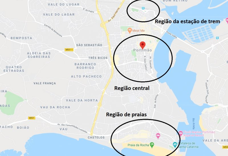 Mapa das regiões de Portimão