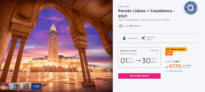Pacote Hurb para Lisboa e Casablanca por R$ 4.770