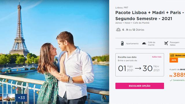 Pacote Hurb para Lisboa, Madri e Paris por R$ 3.889