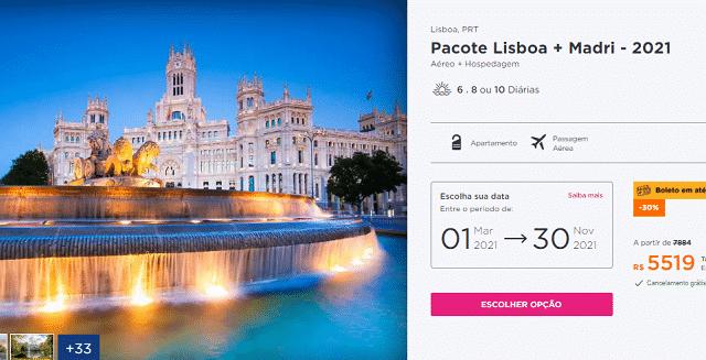 Pacote Hurb para Lisboa e Madri por R$ 5.519