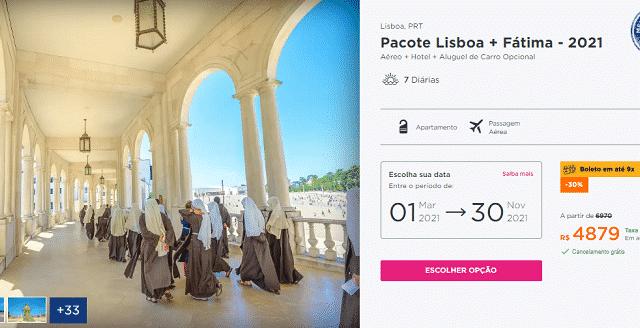 Pacote Hurb para Lisboa e Fátima por R$ 4.879
