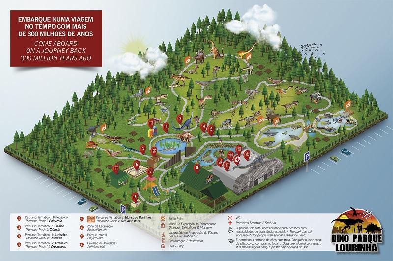 Mapa do Museu dos dinossauros Dino Parque em Portugal